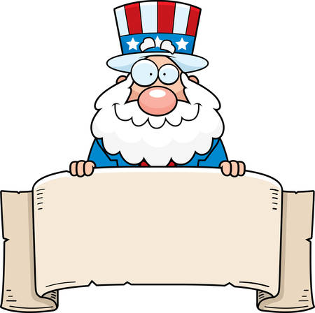 A cartoon illustration of a patriotic man with a banner sign.
