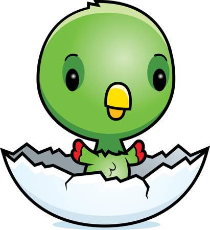 Een cartoon illustratie van een baby papegaai broedeieren uit een ei. Stockfoto - 42587083