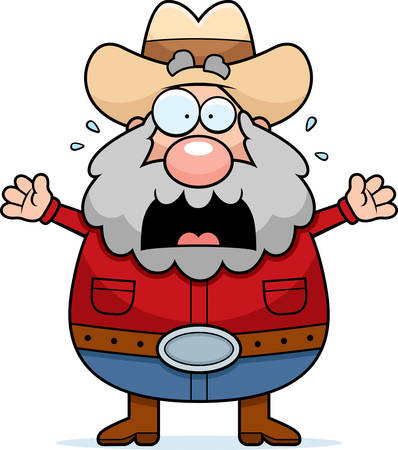 old timer: A cartoon illustration of a prospector panicking.