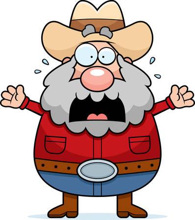 A cartoon illustration of a prospector panicking.