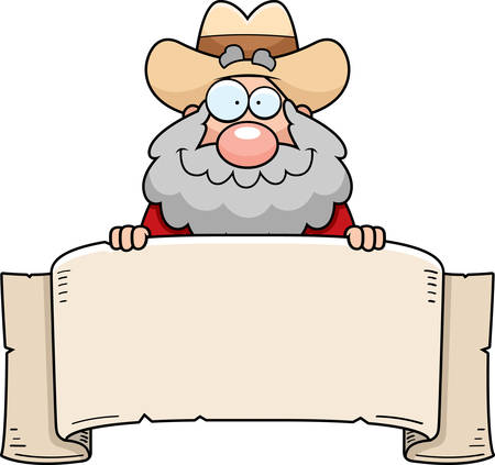 Een cartoon illustratie van een goudzoeker met een banner teken.