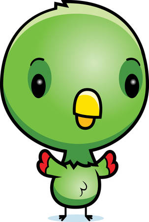 A cartoon illustration of a baby parrot standing.
