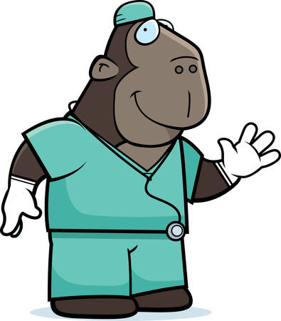 doctor gloves: A cartoon illustration of an ape doctor in scrubs.