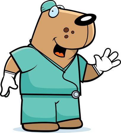 Een cartoon illustratie van een hond arts in het struikgewas. Stock Illustratie