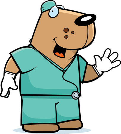 A cartoon illustration of an dog doctor in scrubs. Illustration