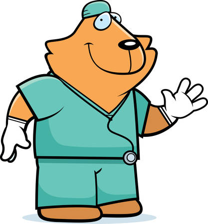 doctor gloves: A cartoon illustration of an cat doctor in scrubs.