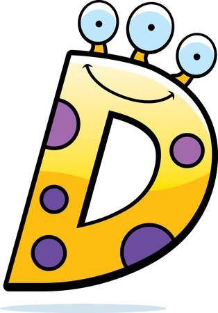 Een cartoon illustratie van een letter D monster glimlachend en gelukkig. Stock Illustratie