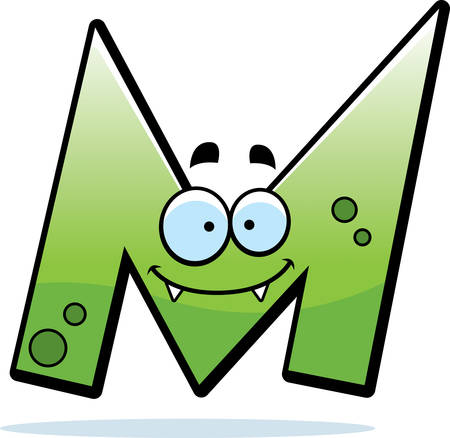 A cartoon illustration of a letter M monster smiling and happy. Illustration
