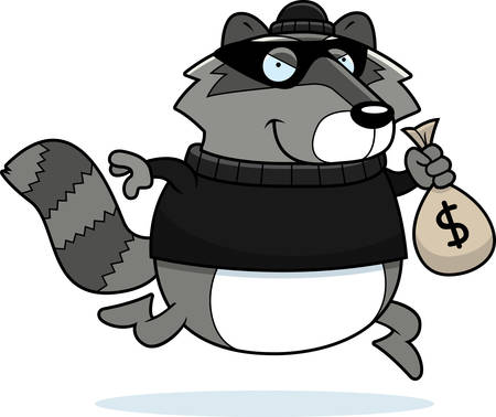 mischievous: A cartoon illustration of a raccoon burglar stealing money.