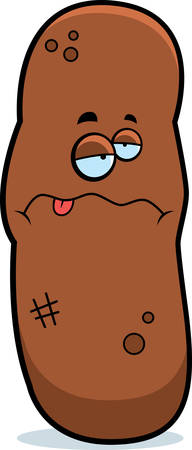 feces: A cartoon illustration of a piece of poop looking sick. Illustration