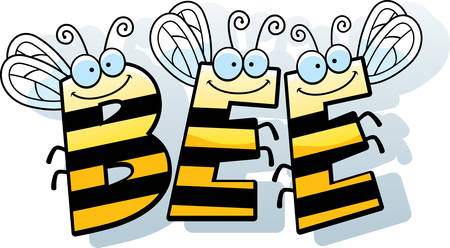 buzz: A cartoon illustration of the word buzz with a bee theme. Illustration