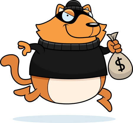 stealing: A cartoon illustration of a cat burglar stealing money.