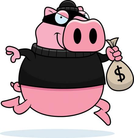 burglar: A cartoon illustration of a pig burglar stealing money.