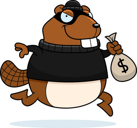 stealing: A cartoon illustration of a beaver burglar stealing money.