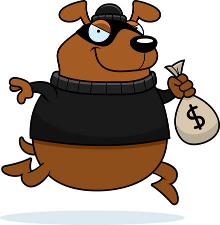 stealing: A cartoon illustration of a dog burglar stealing money. Illustration
