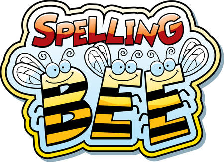 A cartoon illustration of the word buzz with a bee theme. Stock Illustratie