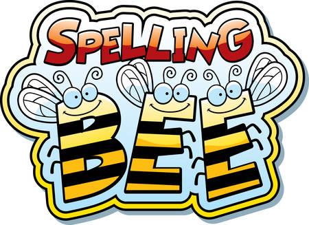 Een cartoon illustratie van het woord buzz met een bij thema.