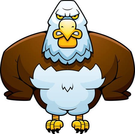perched: A cartoon illustration of an eagle perched.