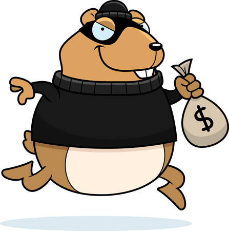 A cartoon illustration of a hamster burglar stealing money.