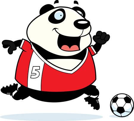 A cartoon illustration of a panda playing soccer.