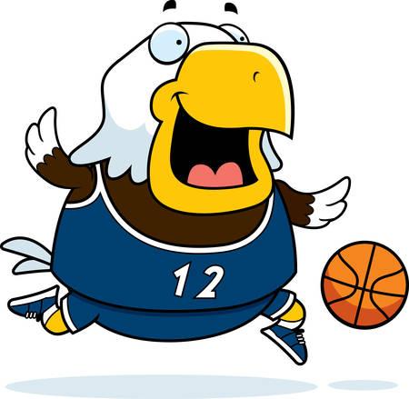 pelota caricatura: Una ilustraci�n de dibujos animados de una pelota de baloncesto juego �guila calva.