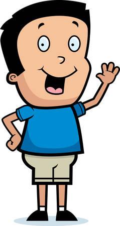 hispanic boy: A cartoon illustration of a boy waving and smiling.