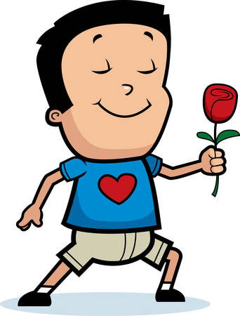 hispanic boys: A cartoon illustration of a boy with a rose flower.