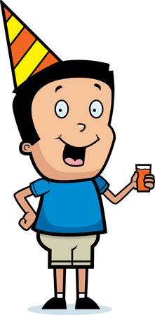 hispanic boys: A cartoon illustration of a boy with a party hat on.