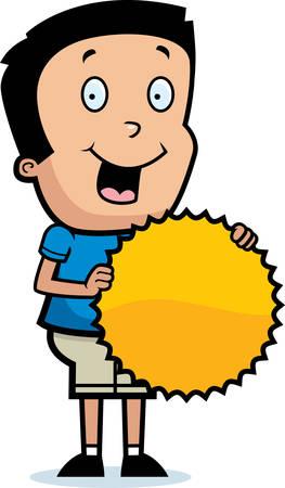 hispanic boy: A cartoon illustration of a boy with a burst sign.