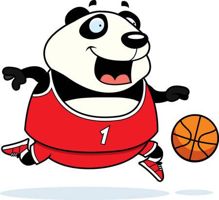 basketball cartoon: A cartoon illustration of a panda playing basketball.
