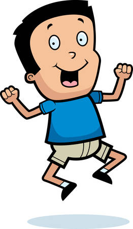 A cartoon illustration of a boy jumping and smiling.
