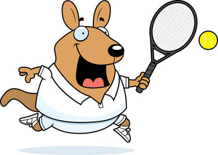 wallaby: A cartoon illustration of a wallaby playing tennis.