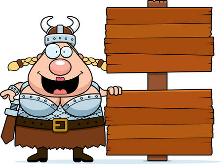 valkyrie: A cartoon illustration of a Valkyrie with a wooden sign. Illustration