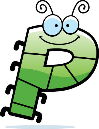 A cartoon illustration of the letter P with an insect theme.