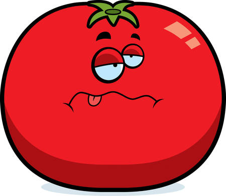 A cartoon illustration of a tomato looking sick.