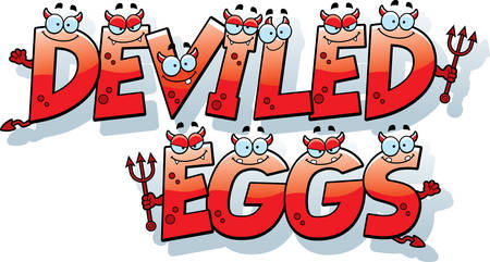 deviled eggs: A cartoon illustration of the words deviled eggs with a devil theme.