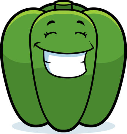 smirking: A cartoon illustration of a green bell pepper smiling and happy.