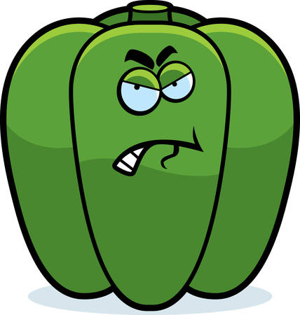 bell pepper: A cartoon illustration of a green bell pepper with an angry expression.