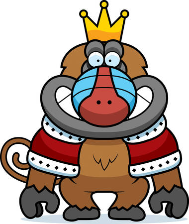 mandril: A cartoon illustration of a baboon king with a crown and robes.