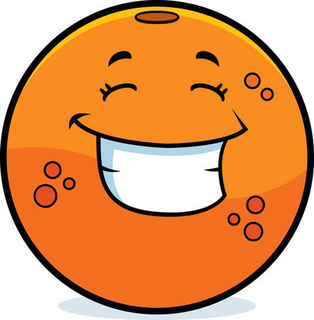 fruit illustration: A cartoon illustration of an orange smiling and happy.