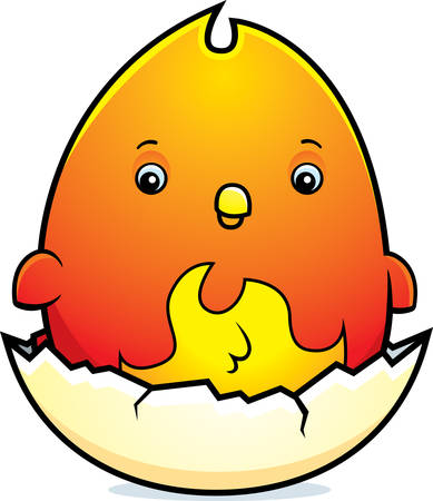 hatching: A cartoon illustration of a baby phoenix hatching from an egg.