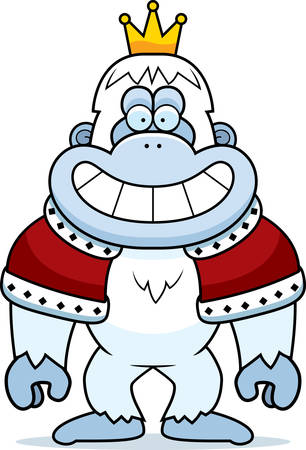 yeti: A cartoon illustration of a yeti king with a crown and robes. Illustration