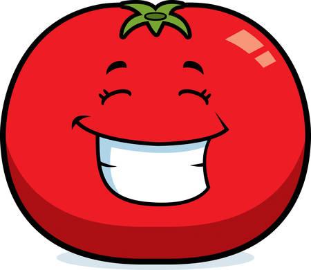 smirking: A cartoon illustration of a tomato smiling and happy. Illustration
