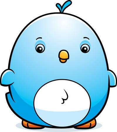 A cartoon illustration of a baby bluebird standing.