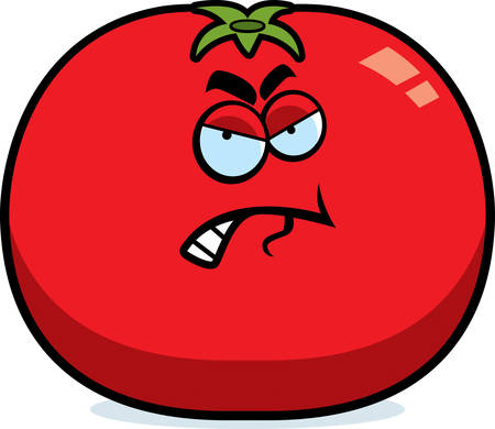 A cartoon illustration of a tomato with an angry expression. Illustration