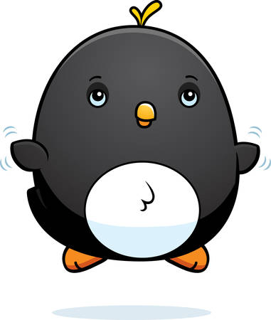 A cartoon illustration of a baby penguin flying.