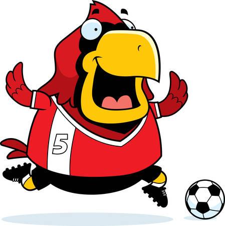 A cartoon illustration of a cardinal playing soccer.