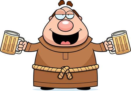 bald cartoon: A cartoon illustration of a monk drinking beer.