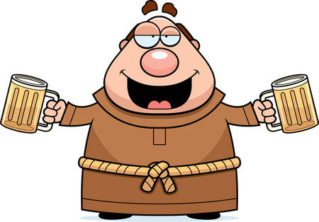 A cartoon illustration of a monk drinking beer.