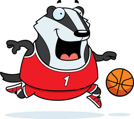 A cartoon illustration of a badger playing basketball.
